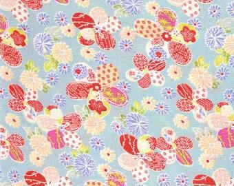 3214 - Japanese Kimono Chrysanthemum Cherry Blossom Floral Chirimen Crepe Fabric with Iron-On Adhesive - 48 Inch (Width) x 1/2 Yard (Length)