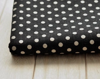 3267 - Japanese Polka Dots on Black Cotton Linen Blend Fabric - 57 Inch (Width) x 1/2 Yard (Length)