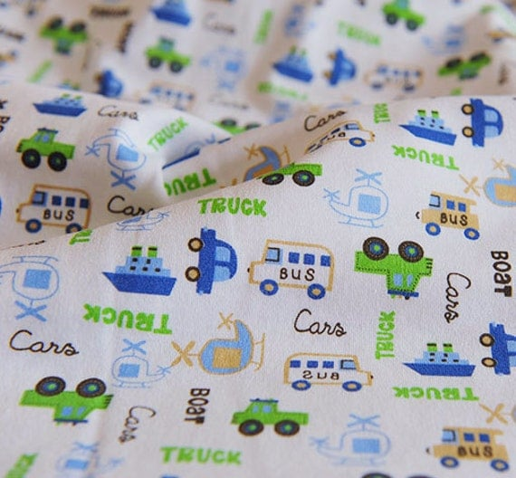 3176 - Car Bus Truck Boat Helicopter Cotton Jersey Knit Fabric - 70 Inch (Width) x 1/2 Yard (Length)