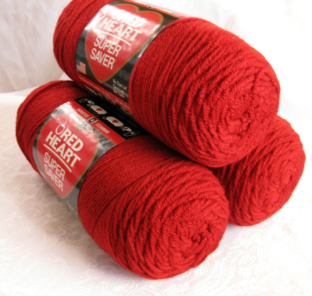 Red Heart Yarn : Red Heart Super Saver yarn Bright Red yarn worsted by crochetgal