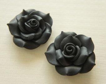 2 pcs Huge Polymer Clay Rose Cabochon (40mm) Black FL326