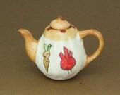 Dollhouse Miniature Ceramic Porcelain Hand Painted Teapot