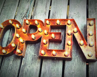 "12""x30"" Steel Marquee OPEN SIGN with back, rusty"