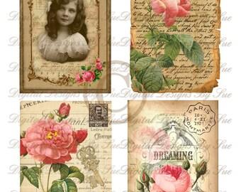 Instant Download - No. 789Y -   Printable Digital Collage Sheet  - Romantic Downloads Hang Tags Scrapbooking