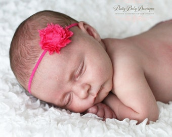 Baby Girl Headband - Tiny Hot Pink Flower On A Thin Stretch Headband- Baby Girl Headband