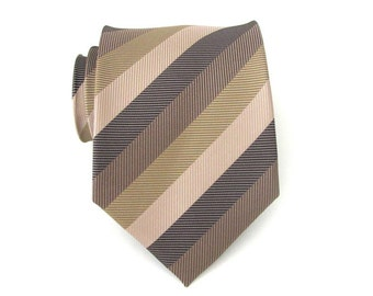 Necktie Beige and Brown Stripes Mens Tie