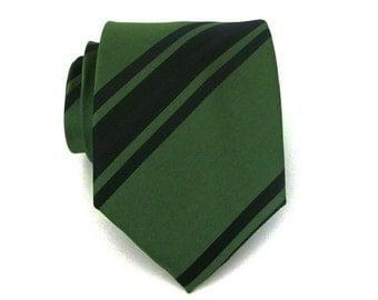 Necktie Dark Green and Black Stripes Silk Tie