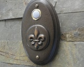 French Fleur De Lis Doorbell Oil Rubbed Bronze Lighted Doorbell Button New Orleans Louisiana