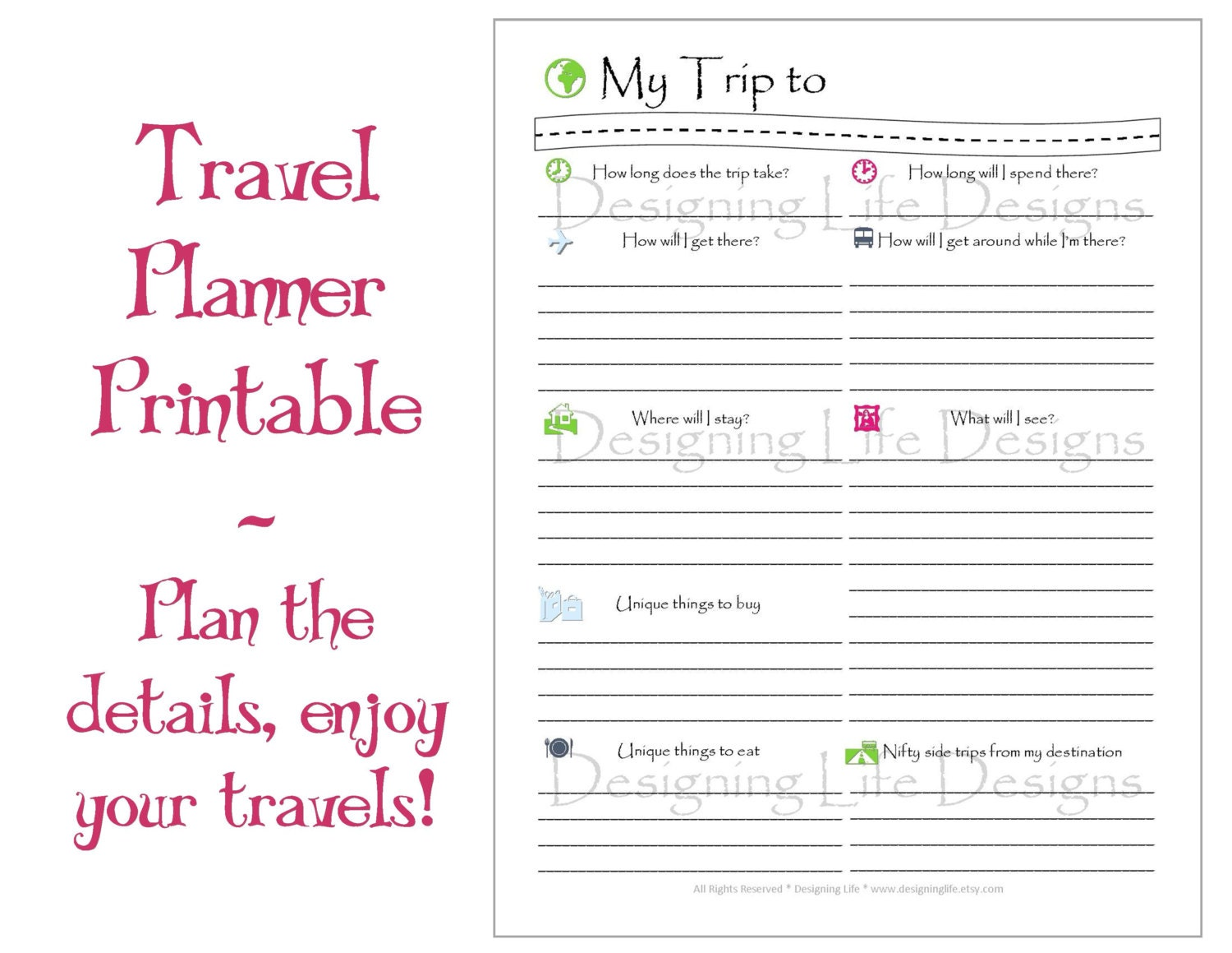 blank trip itinerary template - vacation travel planner printable pdf sheets my trip to