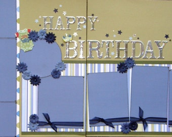CLEARANCE 12x12 double page scrapbook layout Baby 's First Birthday