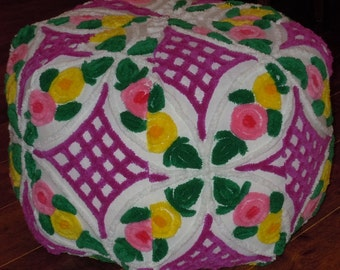Shabby Chic Floor Pouf From Vintage Chenille Bedspread