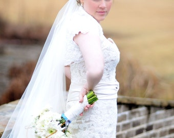 Custom Handmade 2 Tier Drop Style Chapel Bridal Wedding Veil Starting at only 46.99