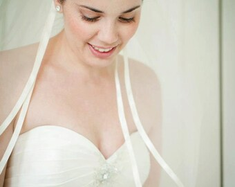 Custom Handmade 1, or 2 Tier Fingertip Bridal Wedding Veil  With a Ribbon Edge Starting At Only 35.99