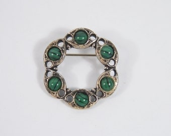 Green Striped Glass Stone Brooch 60s Vintage Jewelry