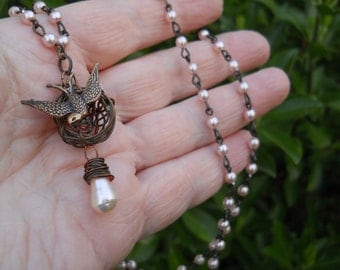 Woodland Pink birdnest on pink pearl chain with pink pearl drop