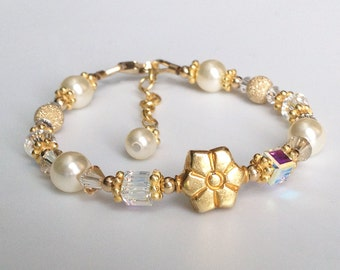 Yellow Gold bracelet, Crystal, Pearl &14kt Gold fill all fine jewelry, flower girl, bridesmaid, kids bracelet