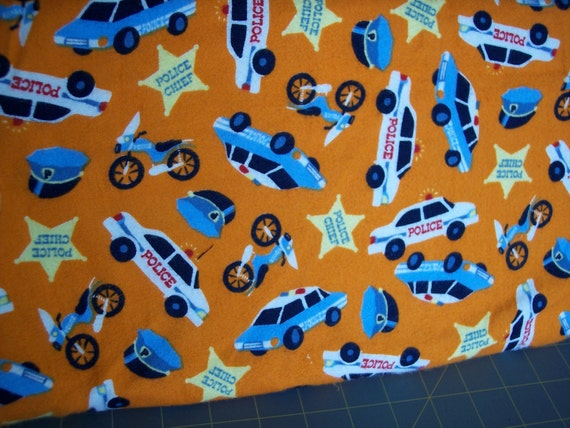 Rare Police Car Motorcycles Badge Star Flannel Orange Blue And