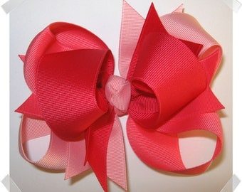 LARGE 5 inch Triple Loop Grosgrain Hair Bow in Shades of Pink Big Girls Hairbow Clip