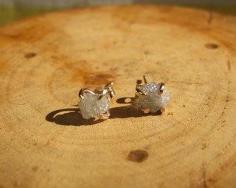 Handmade Diamond Gold Studs Post Earrings April Birthstone