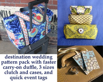 Destination Wedding Sewing Pattern Pack Special 3 PDF Patterns With Faster Duffle and Luggage Tags