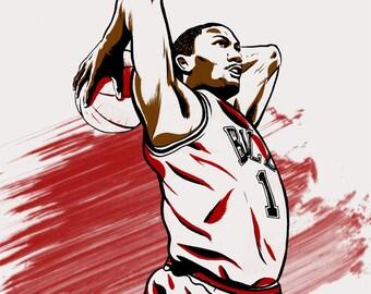 Derrick Rose Chicago Bulls NBA Illustrated Print (Limited Edition)