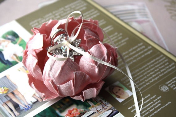 Ring bearer Pillow alternative - Made to order -  PINK -  Handmade  couture flowers - Whimsical Delight collection
