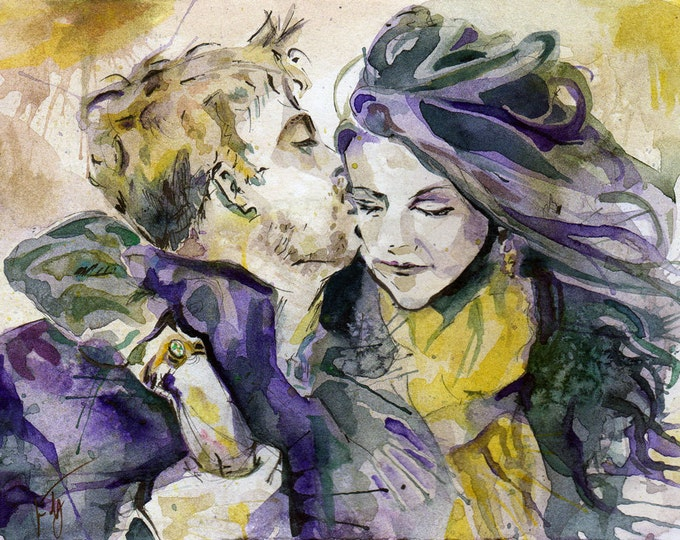 Featured listing image: Custom Anniversery Portrait 9 inches x 12 inches - Wedding Gift Painting of the Happy Couple Watercolor - Made to Order - Engagement Art