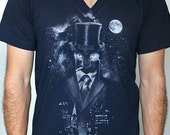 Night Watch - American Apparel Mens / Unisex V- Neck T shirt ( Space, Galaxy, Cat print clothing, Surreal t shirt )