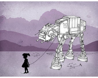 My Star Wars AT-AT Pet Digital Art Print, funny star wars fan art, college student gift, wall art, birthday gift, housewarming gift