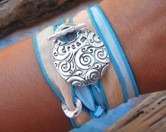 Yoga Bracelet Gift, Yoga Jewelry Gift, Yoga Silk Wrap Bracelet, STERLING Silver Yoga Bracelet Gift 20 COLORS, Moss, Black, Turquoise, Aqua