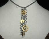 Necklace - Choker - Steampunk - Silver Tones - Chainmaille - Swarovski Crystals - Large Brass Clock Gears and Parts