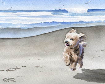 """Apricot Poodle Art Print """"APRICOT POODLE At The Beach"""" Signed by Artist DJ Rogers"""