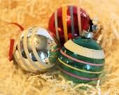 Three Sriped Mercury Glass and Clear Glass Ornaments
