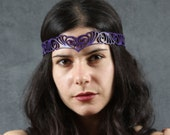 Nouveau Deco leather head wreath in purple