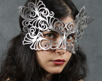 Rococo lacy mask in silver leather