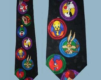 Vintage 90s Looney Tunes Cartoons Silk Tie