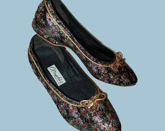 Vintage 50s Slippers Black Floral Brocade OOmphies 5