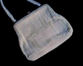 Vintage 60s White Beaded Evening Bag Walborg