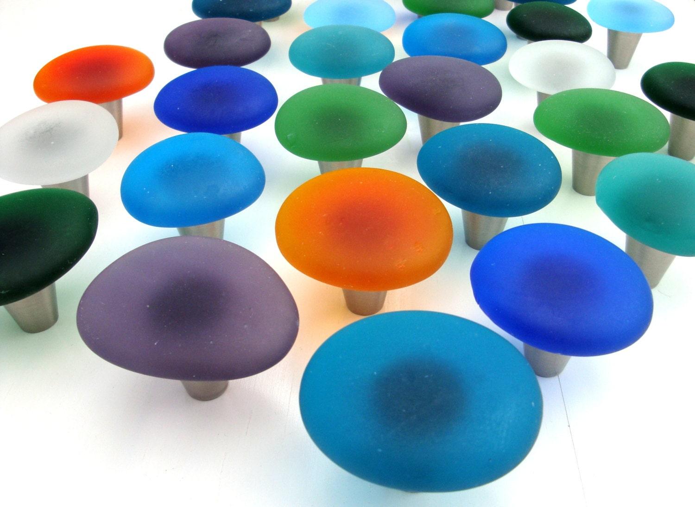 Glass Kitchen Cabinet Pulls Blue Glass Knob Etsy