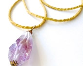 Amethyst Necklace Love Charm Extra Long Faceted Purple Gemstone Statement Necklace, Vintage Brass Rope Chain Radiant Orchid