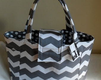 Large Gray and White Chevron with Polka Dots Diaper Bag Tote