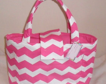 Large Hot Pink and White Chevron Diaper Bag Tote