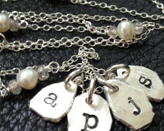 Repurposed Hand Stamped Personalized Initials Necklace