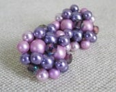 Vintage 1960s Purple Bead Earrings - KitschNCollectibles