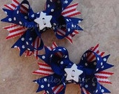 Stars and Stripes Patriotic Mini Boutique Hair Bows