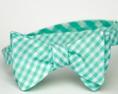 mint gingham freestyle bow tie for men