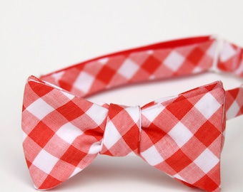 red orange gingham freestyle bow tie for men