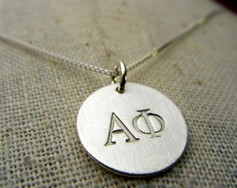 Greek Sorority Sterling Silver Charm Necklace, Hand Stamped Sterling Silver (Alpha Phi, A Phi) by E. Ria Designs (Officially Licensed)