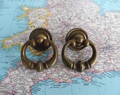 SALE! 2 open brass metal pull handles with round trimplates