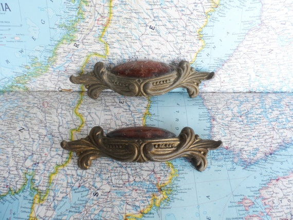 2 vintage ornate Art Nouveau distressed metal pull handles with tortoiseshell inserts includes hardware